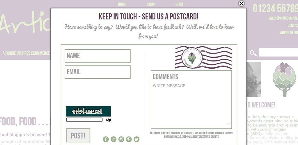 Artichoke Deli Template Sample Contact Form | Templates for Serif ...