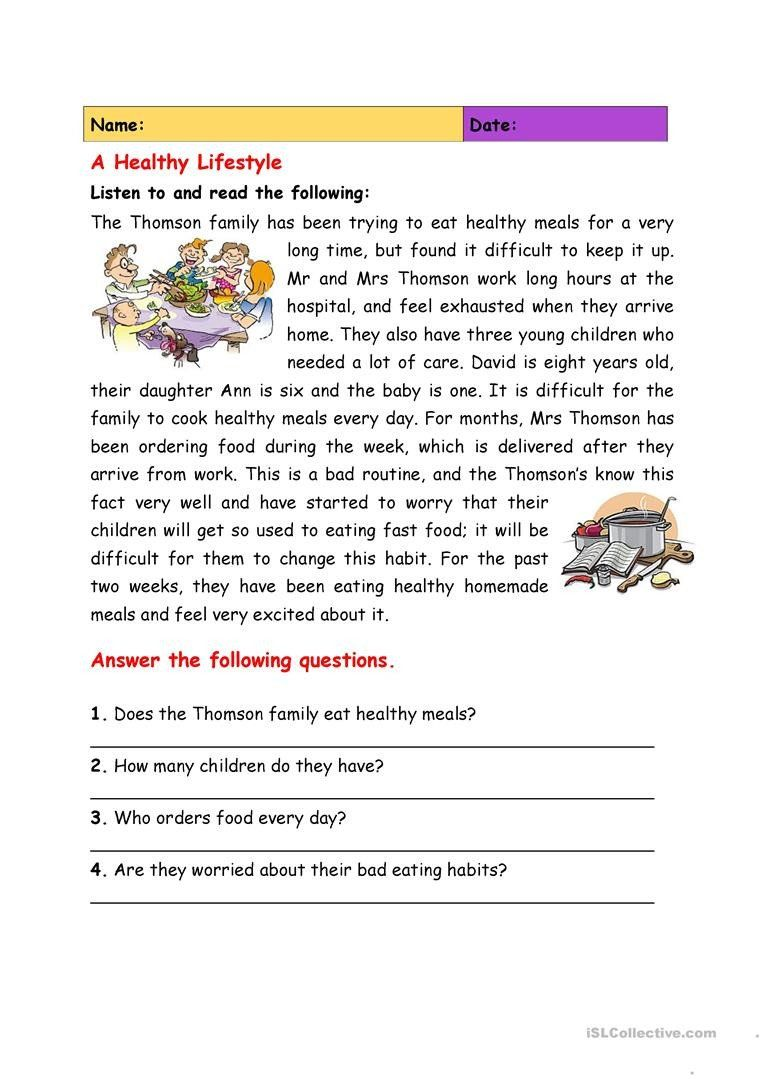 Free Printable Health Worksheets English Esl Healthy Lifestyle Worksheets Most Ed In 2020 Reading Comprehension Worksheets Comprehension Worksheets Reading Worksheets