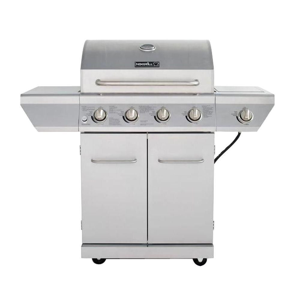 Nexgrill 4 Burner Propane Gas Grill In Stainless Steel With Side Burner And Stainless Steel Doors 720 0830h Gas Grill Propane Gas Grill Gas Grill Reviews