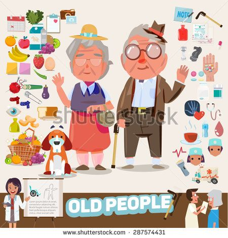 couple of lovely old people with icons set. elements graphic. infographic. character design - vector illustration - stock vector