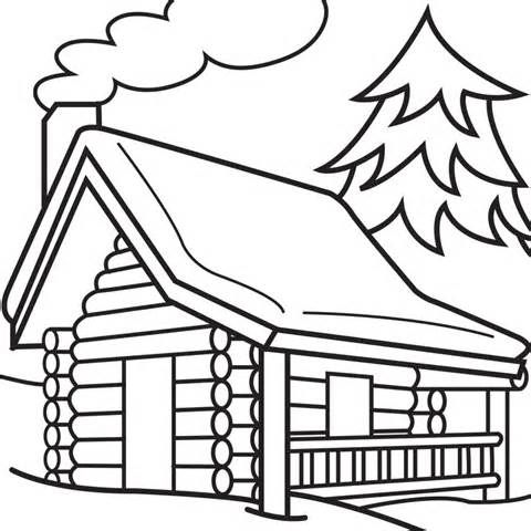 Log Cabin Woods Sketch Templates Cabin Art Coloring Pages