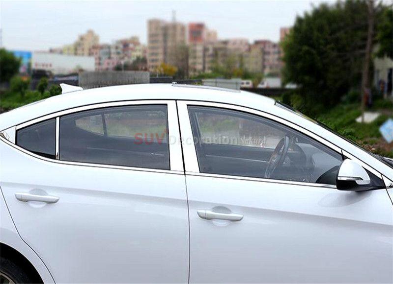 New For Sixth Generation For Hyundai Elantra Avante 2016 2017 Chrome Stainless Steel Full Window Trims Center Hyundai Elantra Interior Accessories Elantra