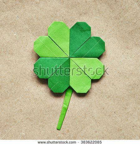 Green Origami Paper Shamrock Clover Leaf On Eco Paper Background