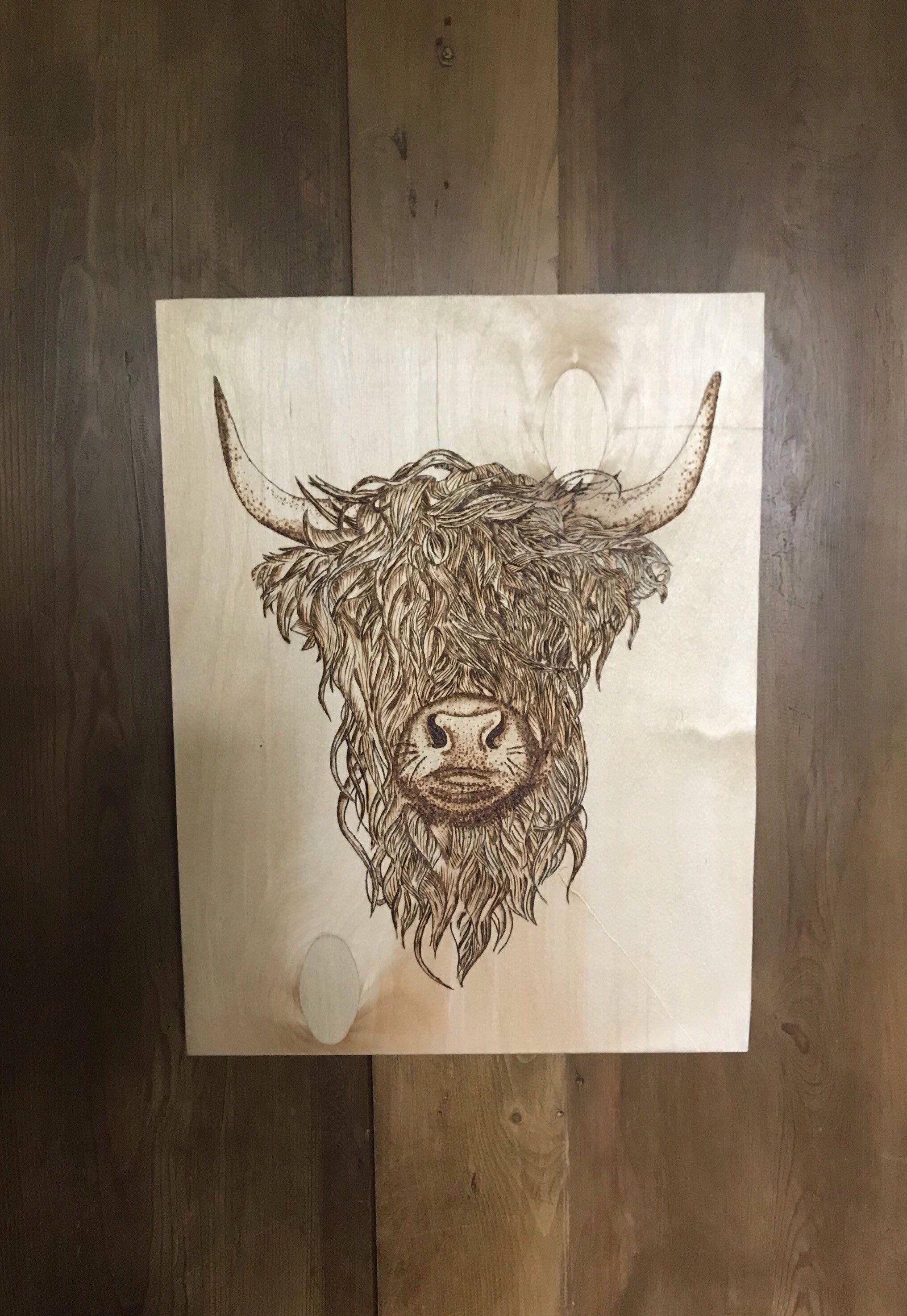 Highland Cow Wall Hanging Hand Pyrography Wood Burning Etsy Highland Cow Tattoo Highland Cow Handmade Wall Art