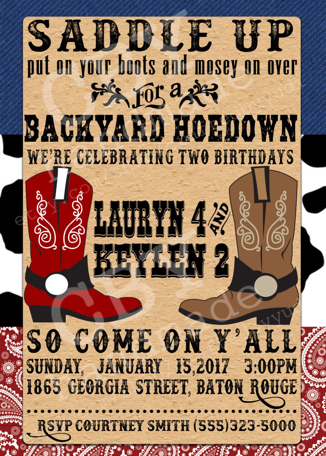 PRINTABLE backyard hoedown party invitations - RED, PRINTABLE ...