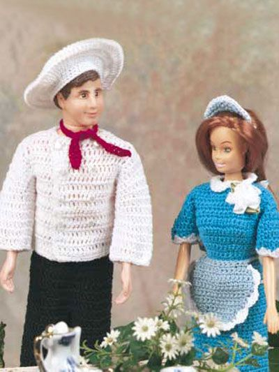 #FREE #CROCHET #PATTERNS for #Barbie #Waitress and #Ken #Chef #Outfits