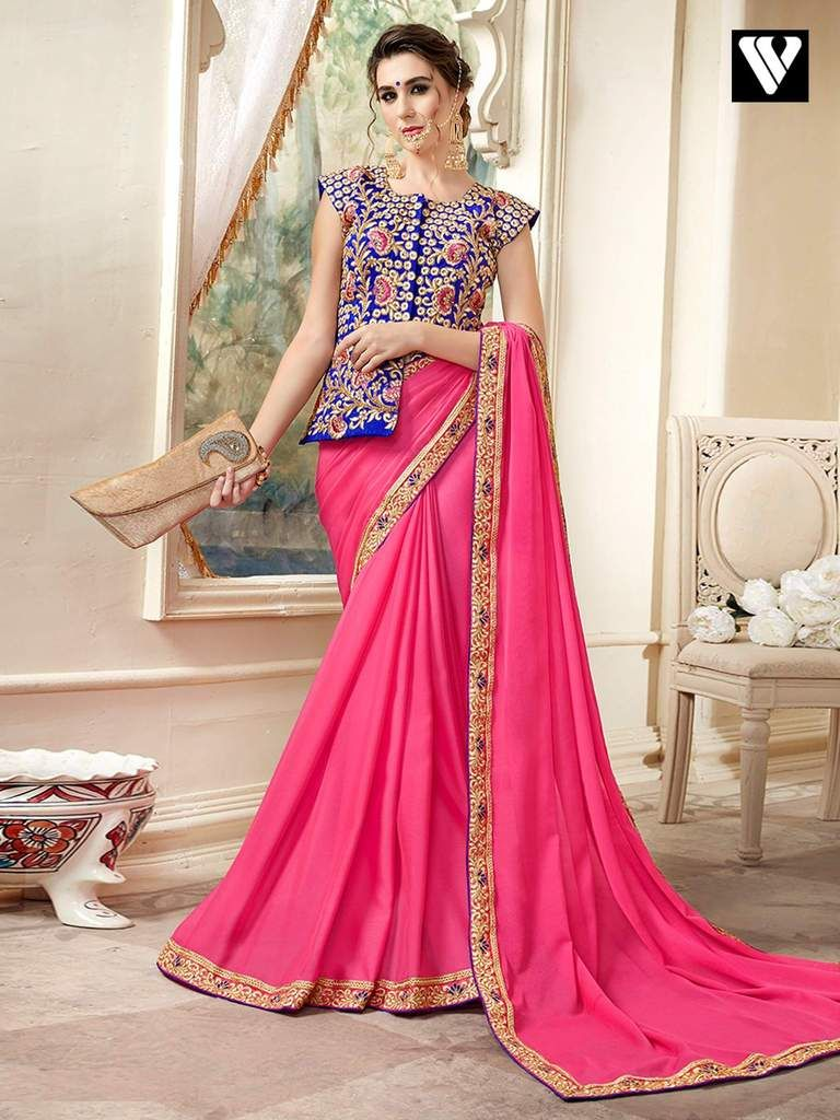 71a729a595a8b Function Wear Designer Plain Saree with Lace Border and Fancy Long Blouse  in 2019