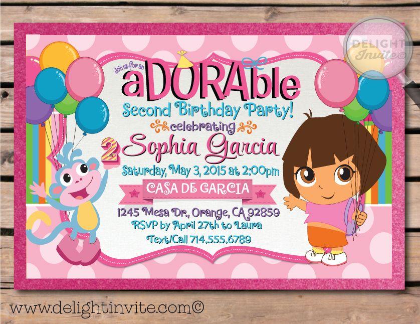 Dora the Explorer Birthday Invitations Dora the Explorer Birthday ...