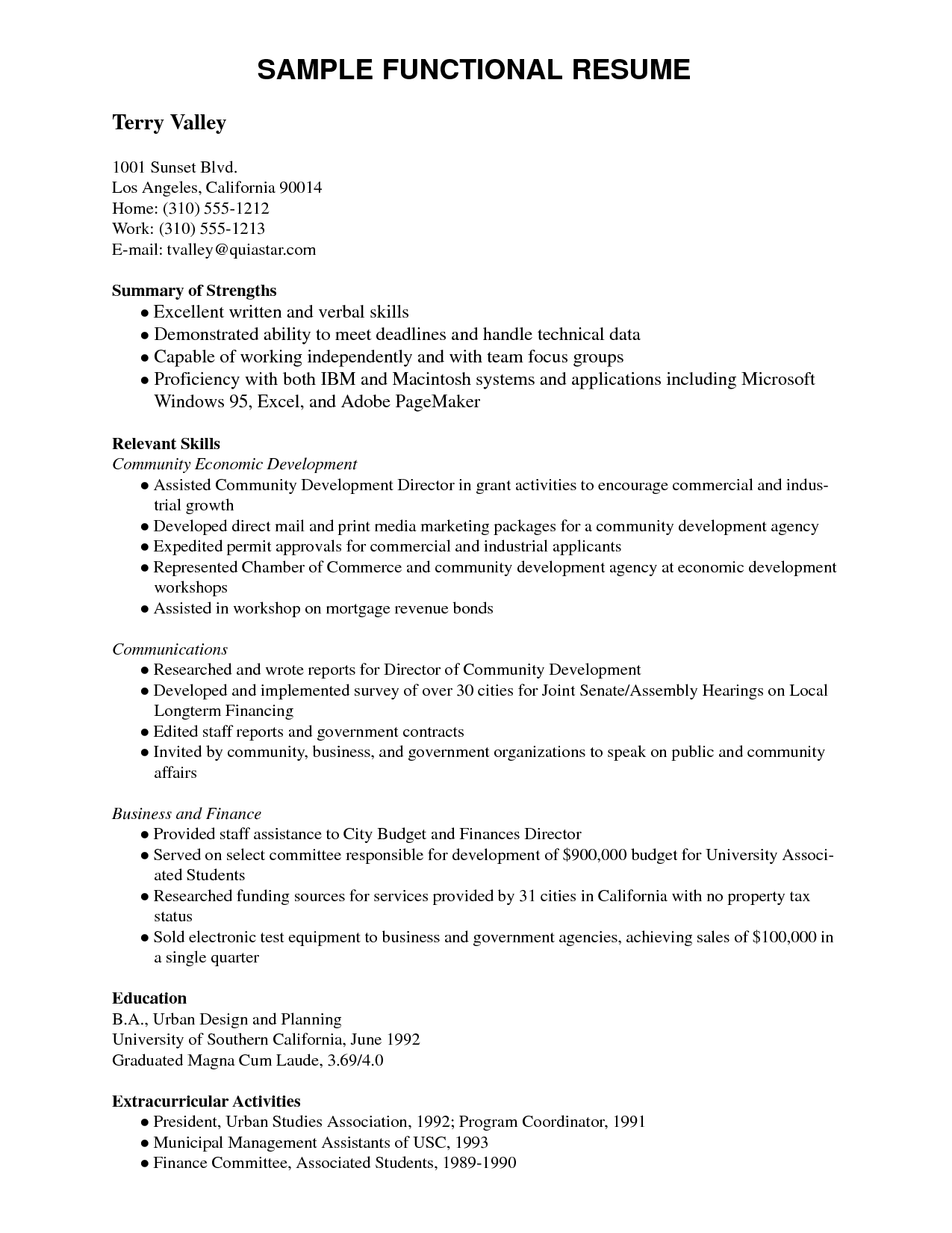 Image Result For Functional Resume Example Pdf  Resumes