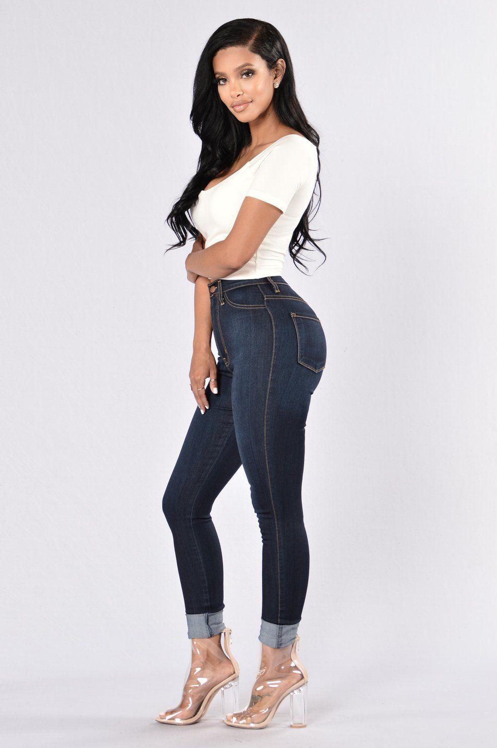 Classic high waist skinny jeans dark denim in 2020