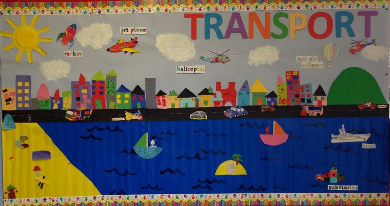 Transport mural red range classroom display photo for Classroom mural