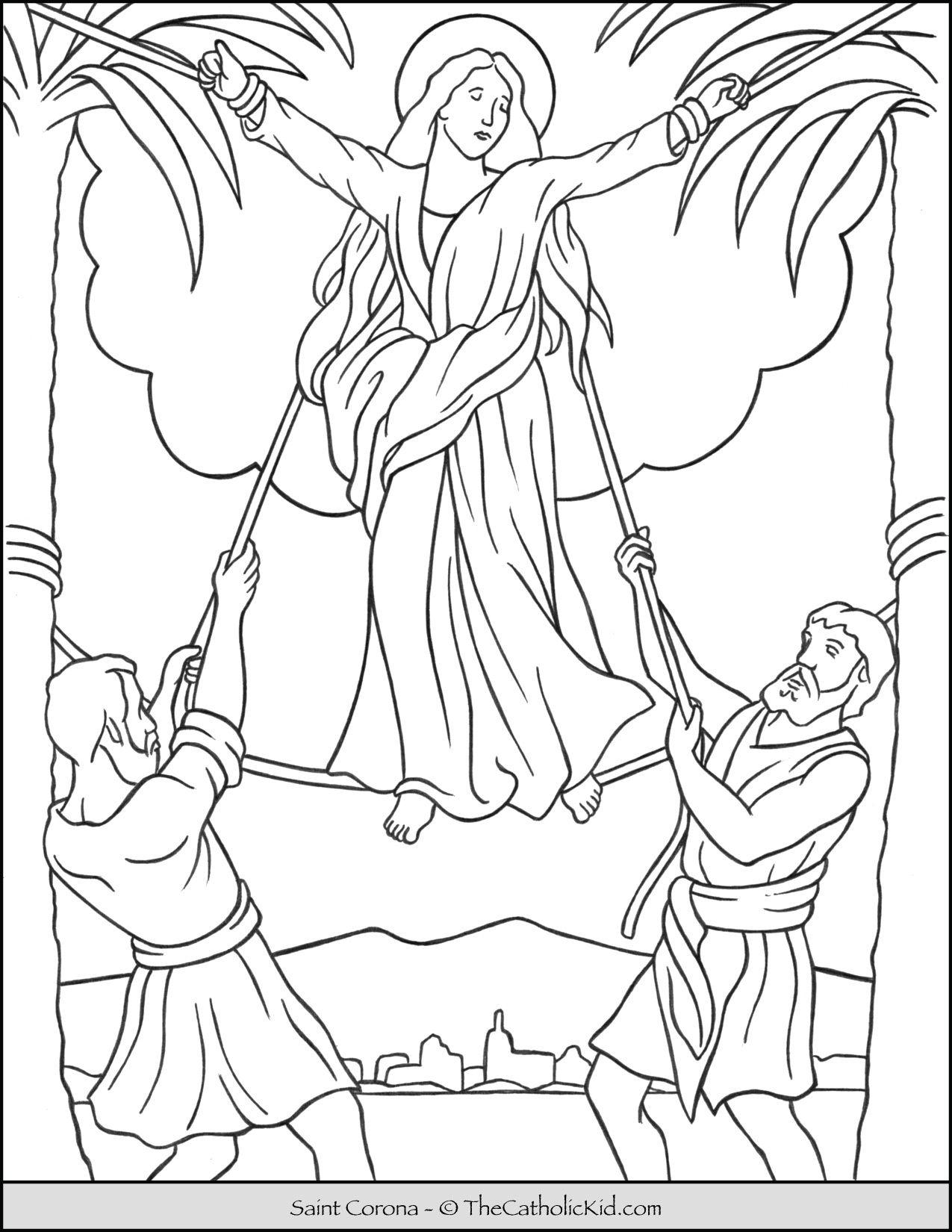 Saint Corona Coloring Page Thecatholickid Com Catholic Coloring Coloring Pages Saint Coloring