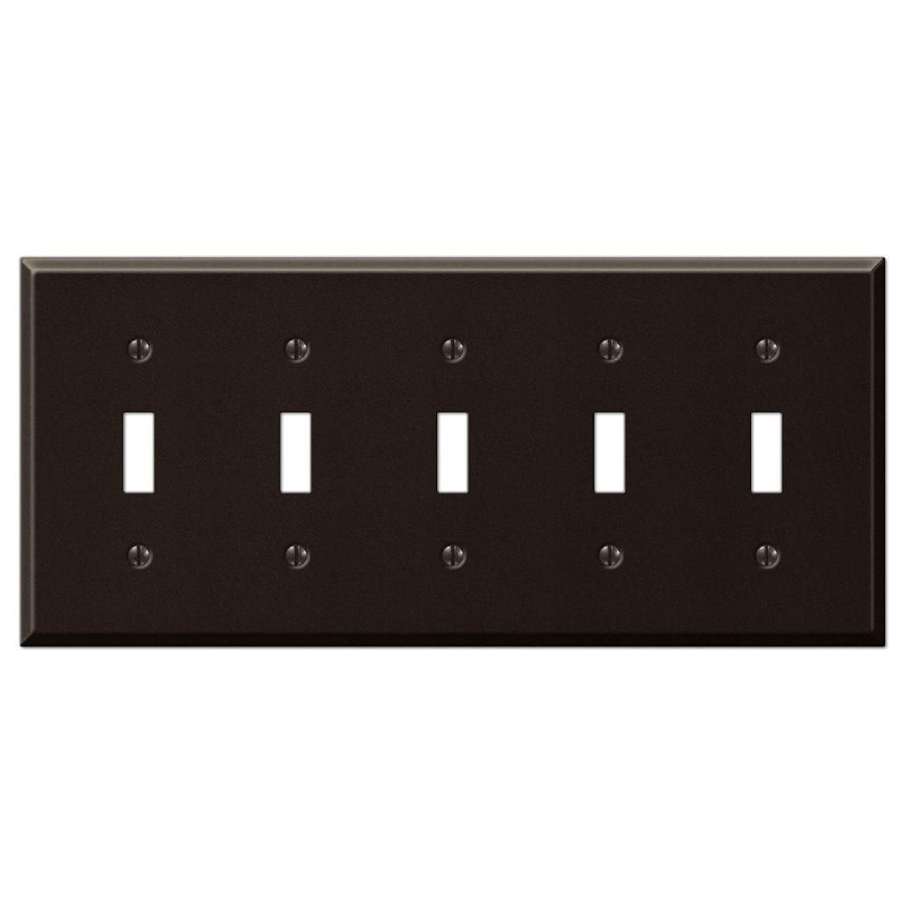 Amerelle Wall Plates Creative Accents Steel 5 Toggle Wall Plate  Antique Bronze9Az105