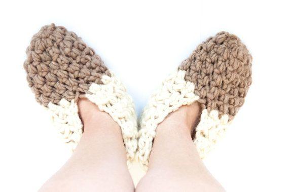 Crochet Pattern Diy Slippers Wool Warm Bulky Yarn