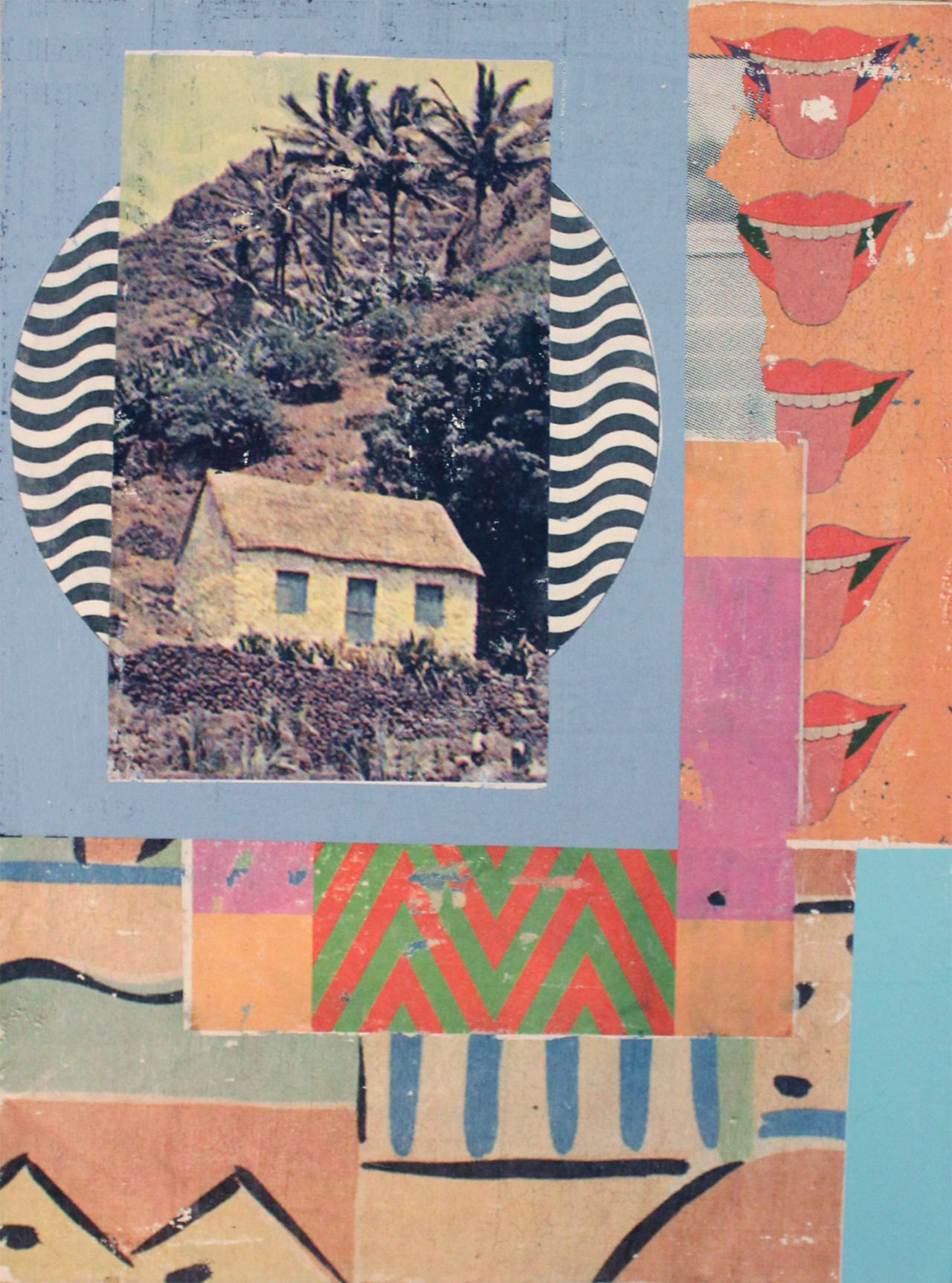 surf shack 12 x 16 gel transfer paper collage acrylic on canvas