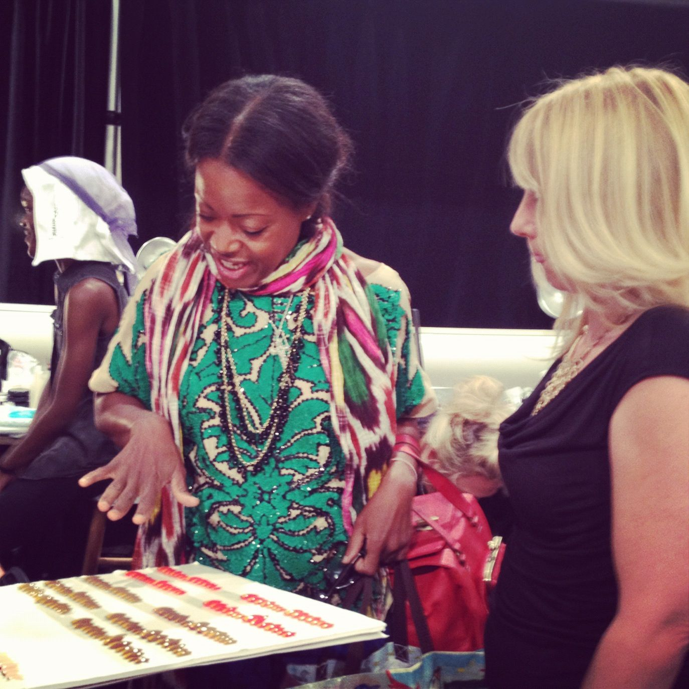 Tracy Reese and Sally Hansen's nail ambassador, Tracylee chatting about the nail designs for today's show. #nyfw