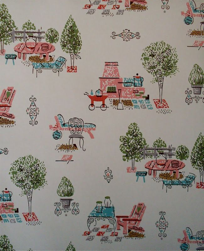 Vintage Wallpaper Fifties Kitchen per meter