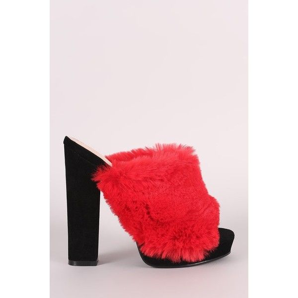Shoe Republic LA Faux Fur Chunky Platform Mule Heel ($54) ❤ liked on Polyvore featuring shoes, pumps, peep-toe mules, platform shoes, thick heel pumps, chunky heel platform shoes and peep toe platform pumps