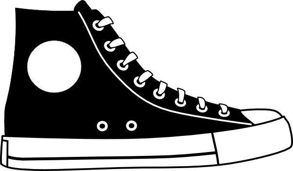 Tennis Shoe Clip Art Black And White Black Hightop Shoe Clip Art Vector Clip Art Online Royalty Free Shoes Vector High Top Sneakers Shoe Clips