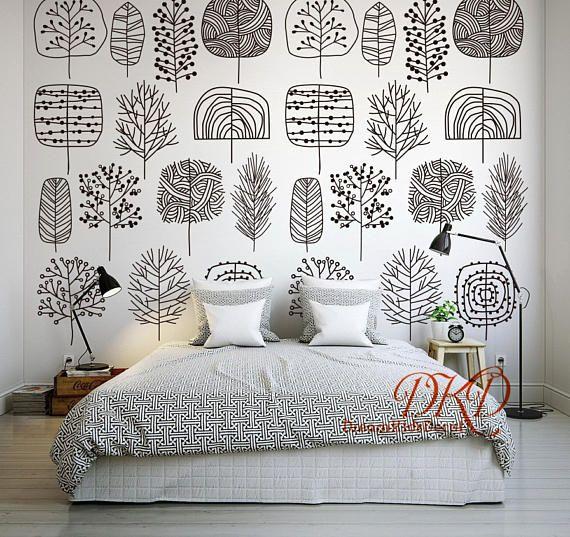 Noir Et Blanc Mur Autocollant Papier Peint Autocollant Pour Murs