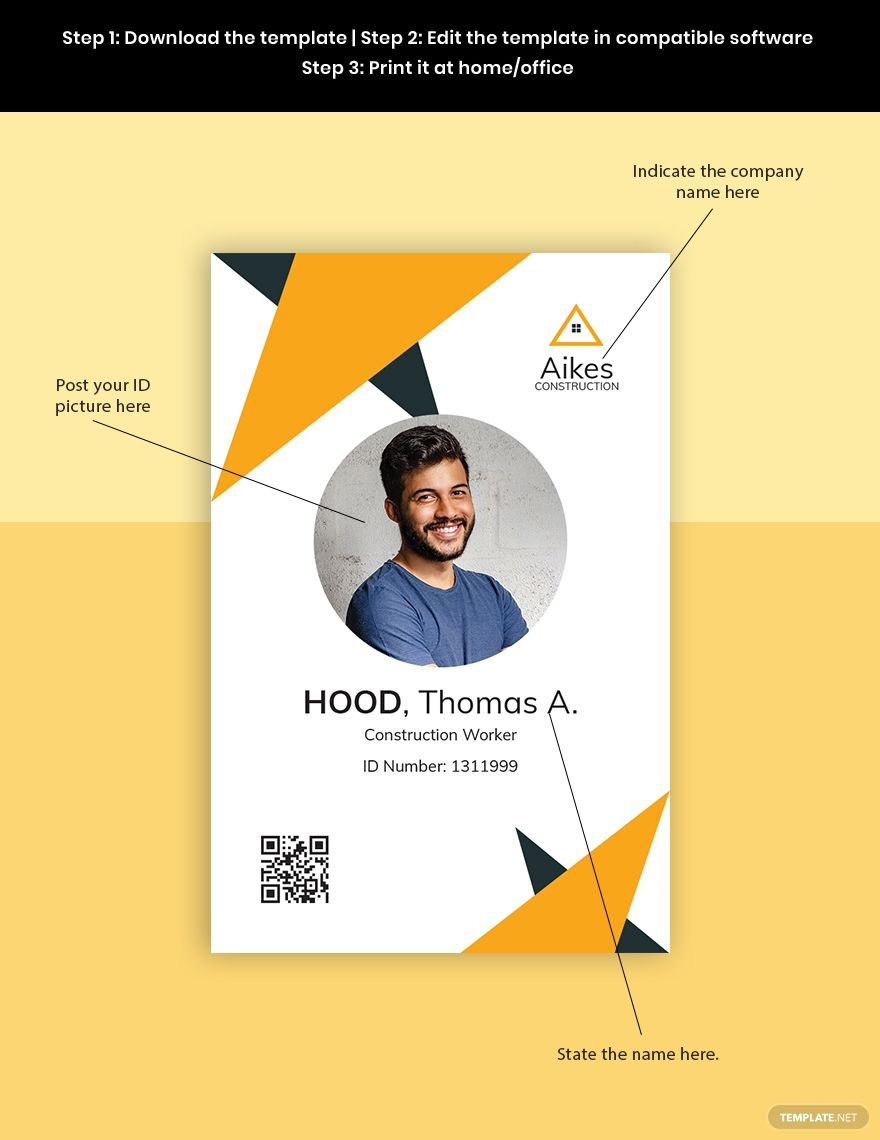 Construction Worker Id Card Template Free Pdf Google Docs Id Card Template Card Template Presentation Design Template