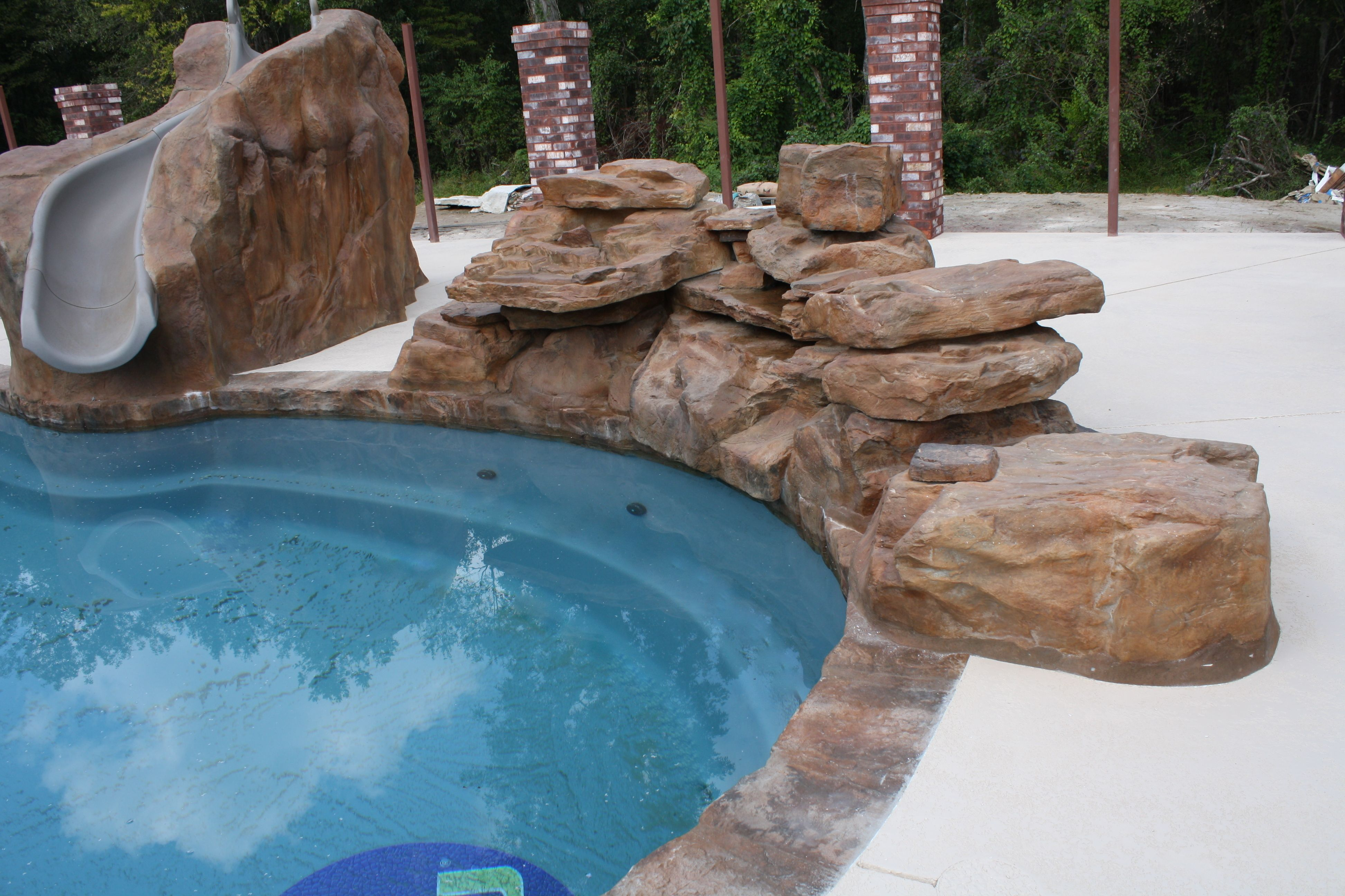 Rico Rock Waterfall And Slide On Swimming Pool Swimming