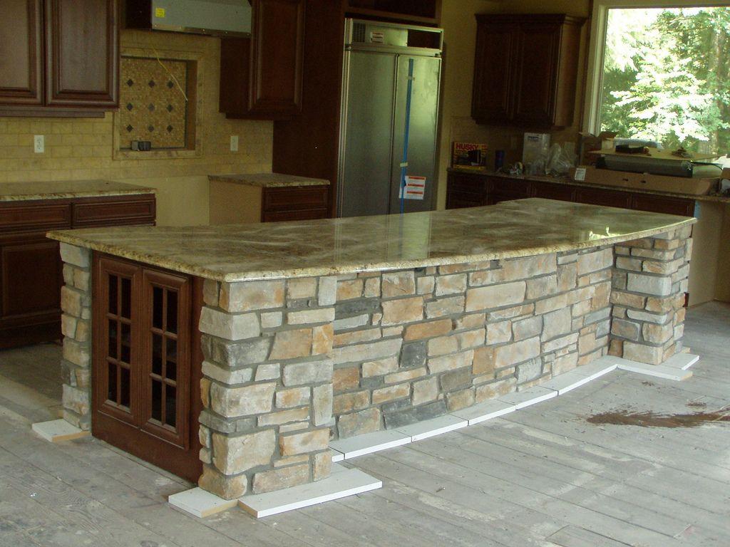Stone Veneer Kitchen Island Baker Masonry Llc 503 539 6792