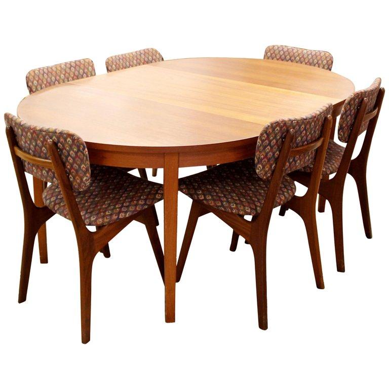 Arne Hovmand Olsen Dining Room Set Oval Dining 6 Chairs Danish