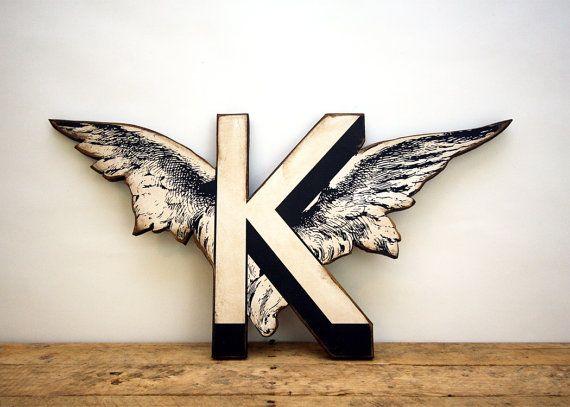 Cherub Wing Letter K Vintage Inspired Wood Wall By Edieslab 35 00 Alphabet Wallpaper Monogram Wallpaper Letter Photo Collage