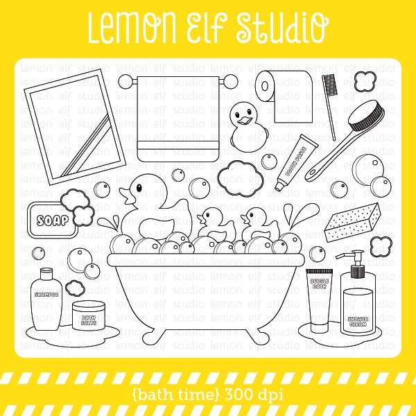 Bath time digital stamp mygrafico digital stamps for Bath time coloring pages