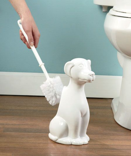 Ceramic Dog Or Cat Toilet Brush Holders
