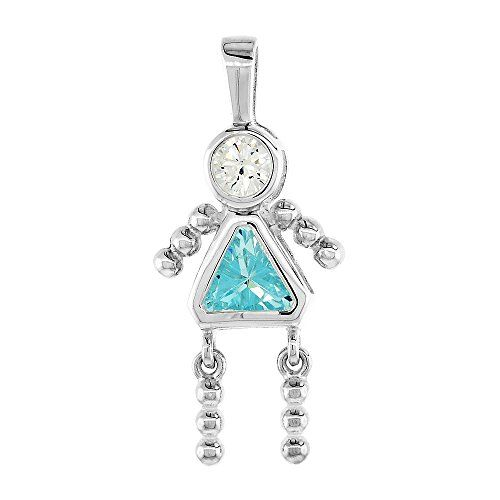 """You wear this charm to represent a Daughter or a Granddaughter with the appropriate birthstone. This is one of the all time favorite Birthstone Pendants for Mothers and Grandmothers. The Stone in the head is a 4mm Cubic Zirconia, and the one in the Body is a Trillium 8mm X 8mm Synthetic color Stone and the body is sterling Silver. The height of the charm is 1 3/16"""" (3 cm). CHAIN IS NOT INCLUDED."""