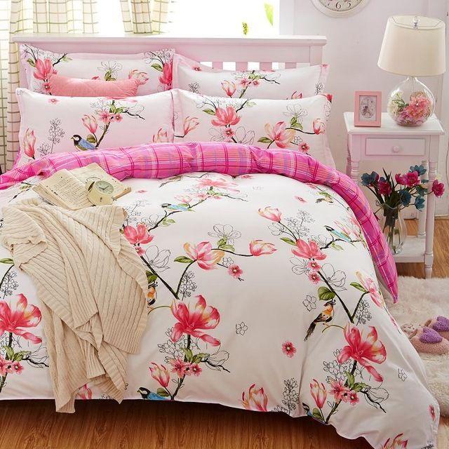 Plaids 4pcs Bed Cover Set Duvet Cover Bed Sheets Pillowcases Bedding Set