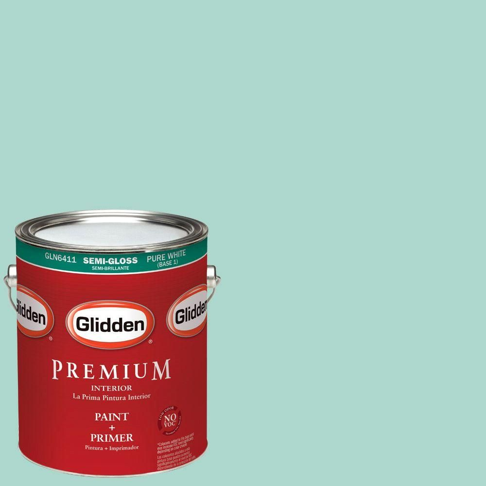 Glidden Premium 1-gal. #HDGB06 Washed Teal Semi-Gloss Latex Interior Paint with Primer