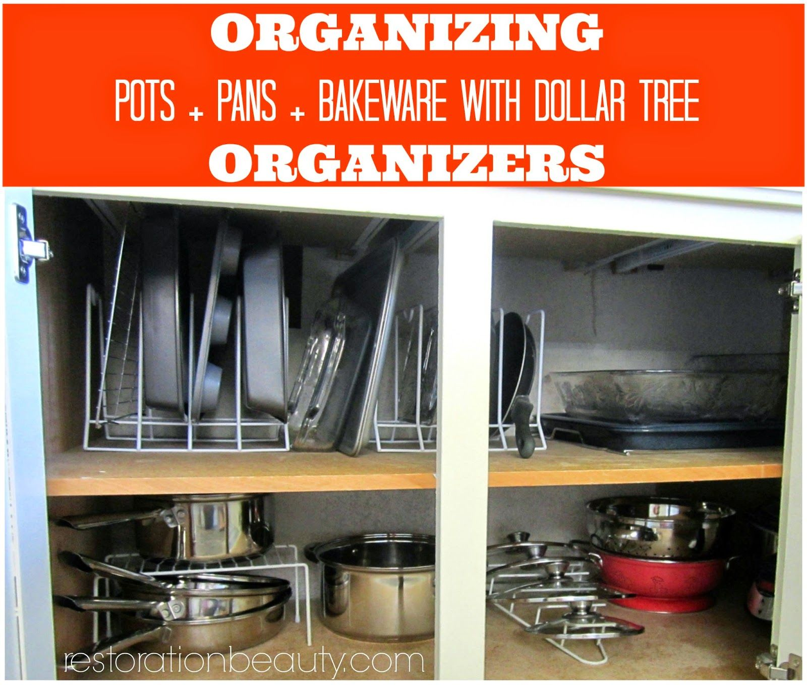 organizing pots pans bake ware with dollar tree organizers dollar tree organization kitchen on kitchen organization pots and pans id=42780