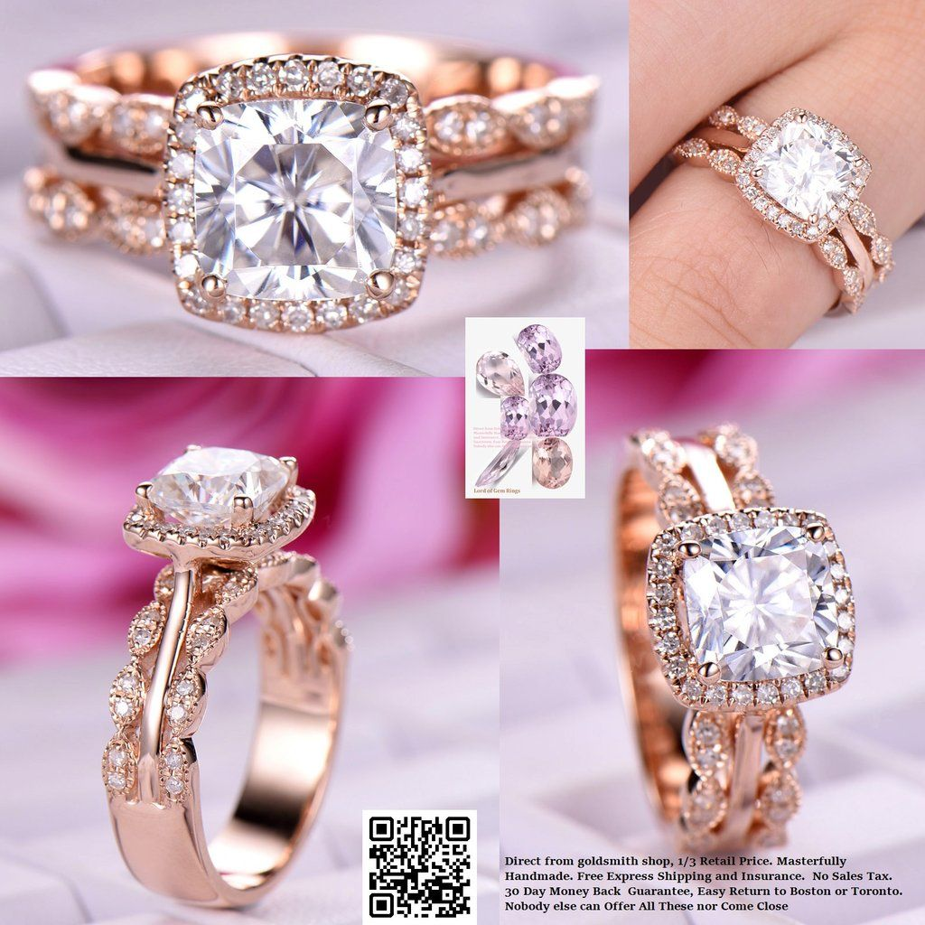 Cushion Moissanite Engagement Ring United-as-One Sets Diamond ...