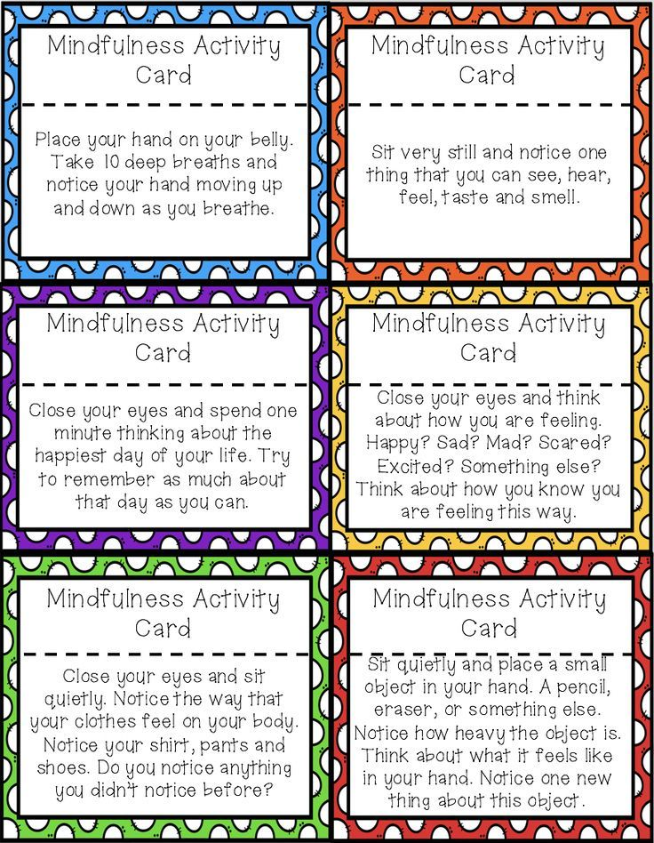 42 Mindfulness Activity Cards to help students re-focus ...