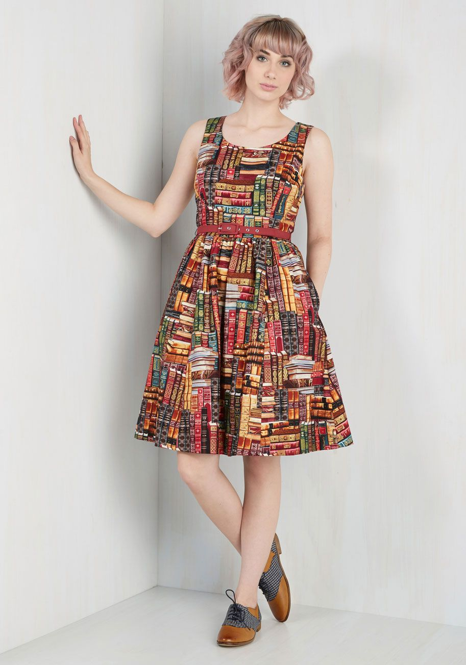 e7ecd8e6f4 Archive Got the Power Dress. Show your style smarts are off the charts by  flaunting this printed cotton dress! #multi #modcloth