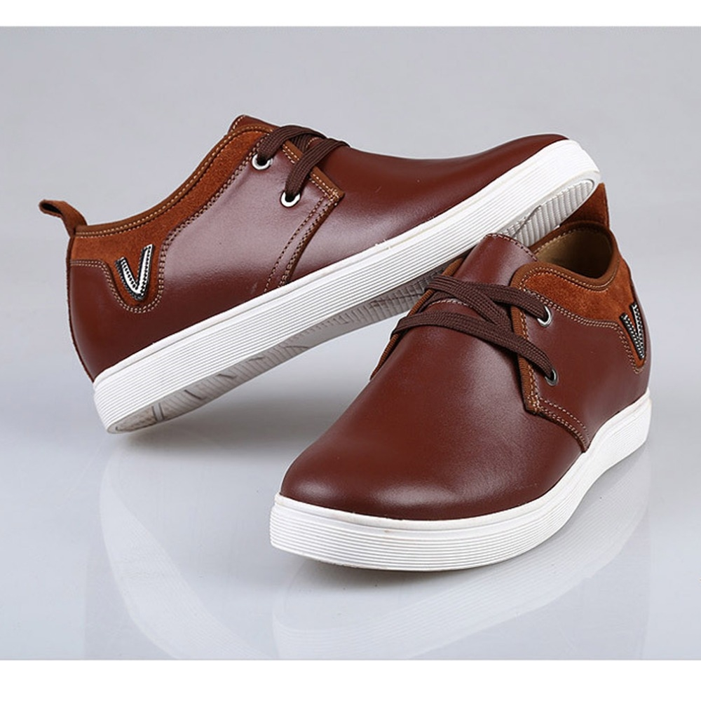 98.00$  Watch here - http://alinxt.worldwells.pw/go.php?t=32595861892 - 2016 Summer And Autumn New Casual Shoes Men Breathable Leather Men's Shoes Invisible Increase In Men's Shoes Grow Taller  6 cm