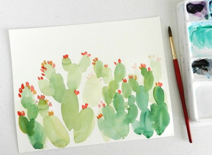 Hop On The Cactus Trend In Watercolor Watercolor Cactus