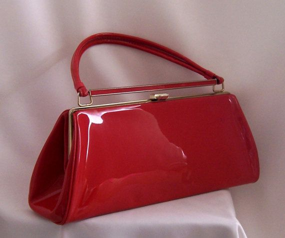 RESERVED Vintage Handbag Red Patent