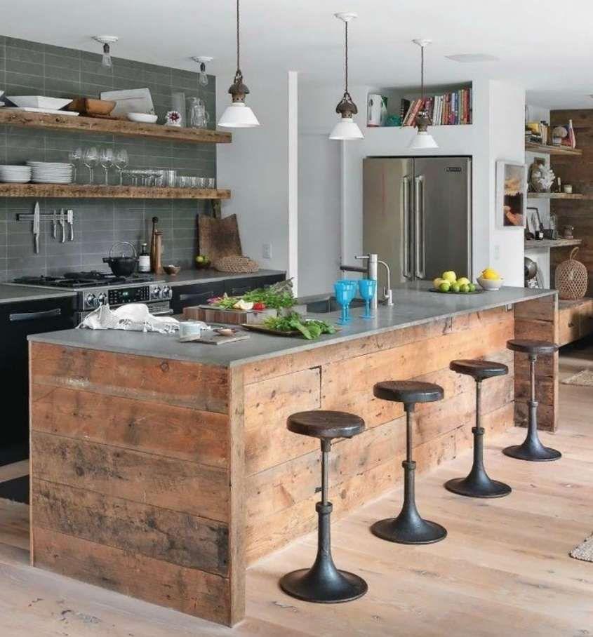 Cucine fai da te - Isola con legno di riciclo | cuisine ...