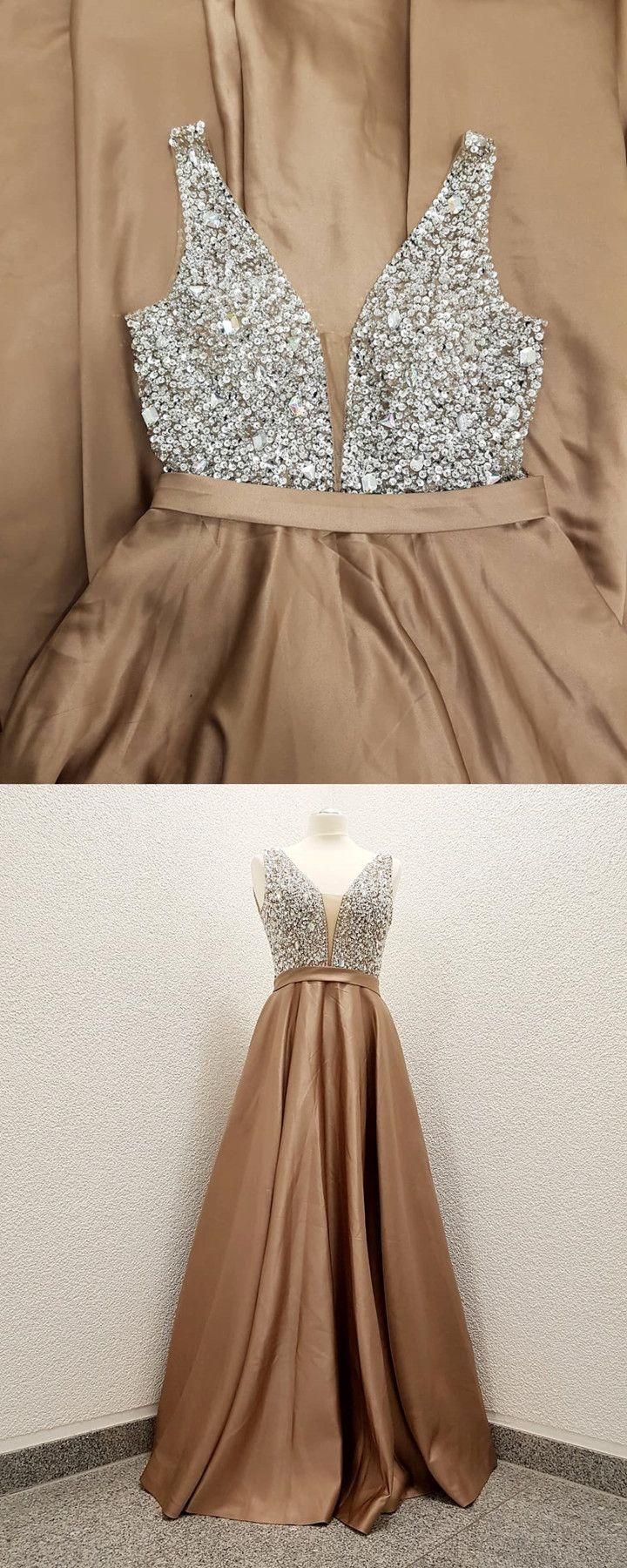 Sparkly sequins champagne long prom dress from wendyhouse elbise