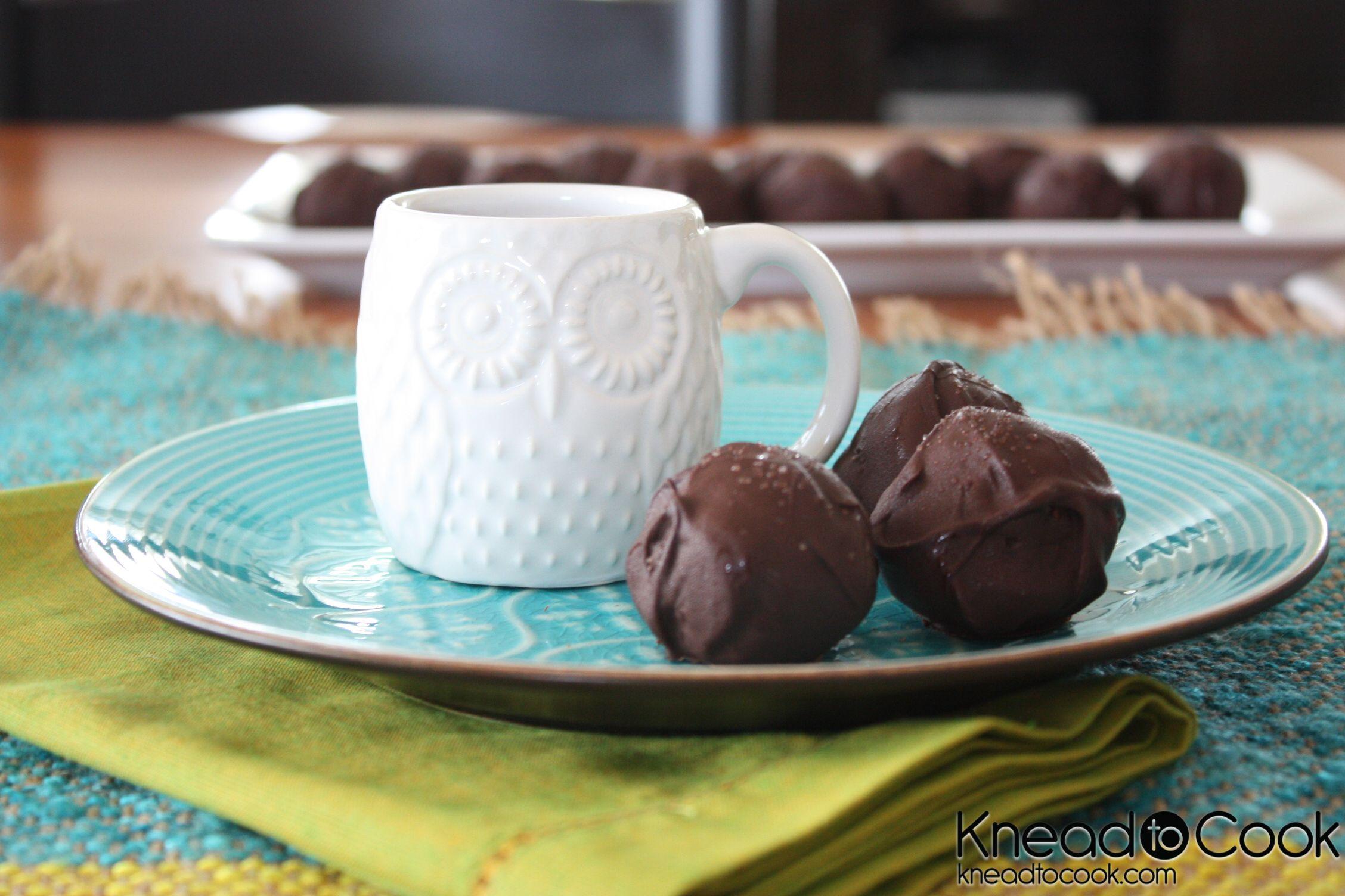 mock brownie bites enrobed in dark chocolate with sea salt. super easy.