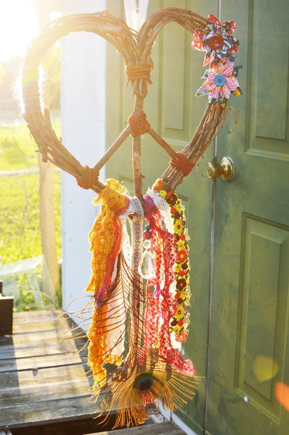 Photo of Dreamcatcher make Bohemian Style over the bed *** Love Heart Wreath Peace Dre . …