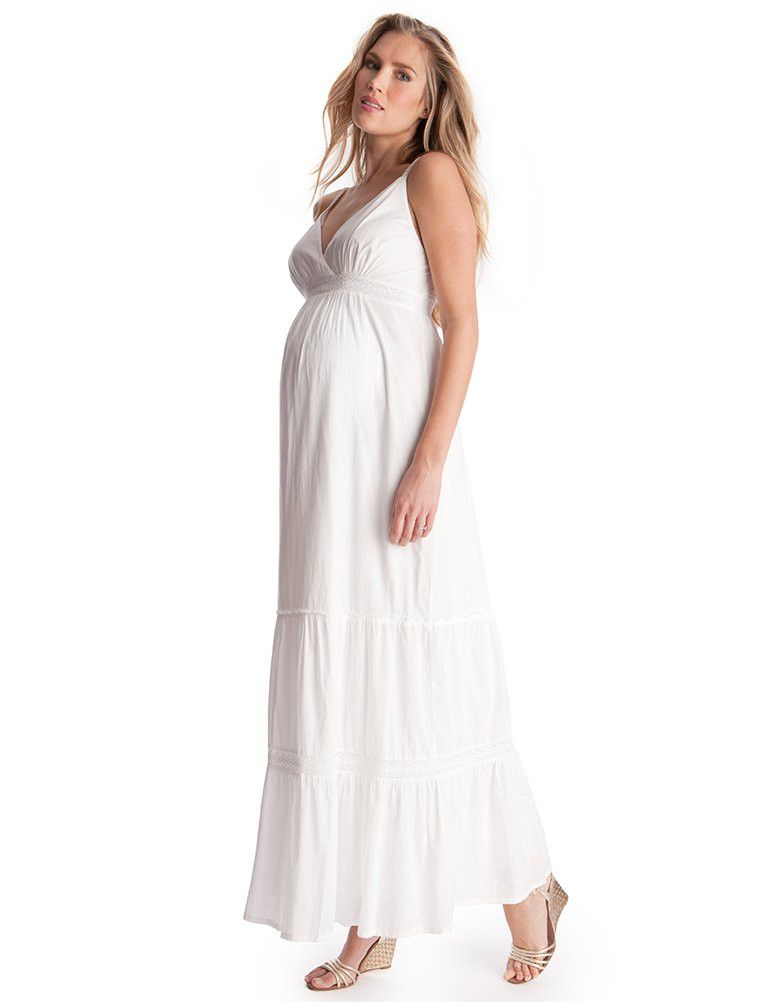 Cotton White Maternity Maxi Dresses