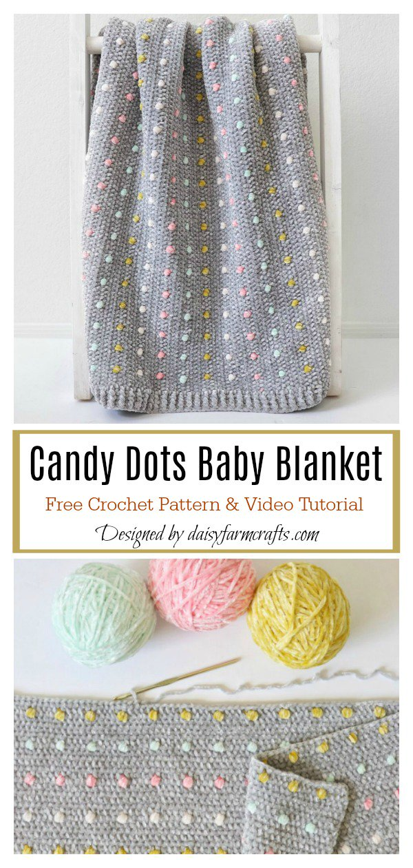 Candy Dots Baby Blanket Free Crochet Pattern and Video Tutorial #c2cbabyblanket