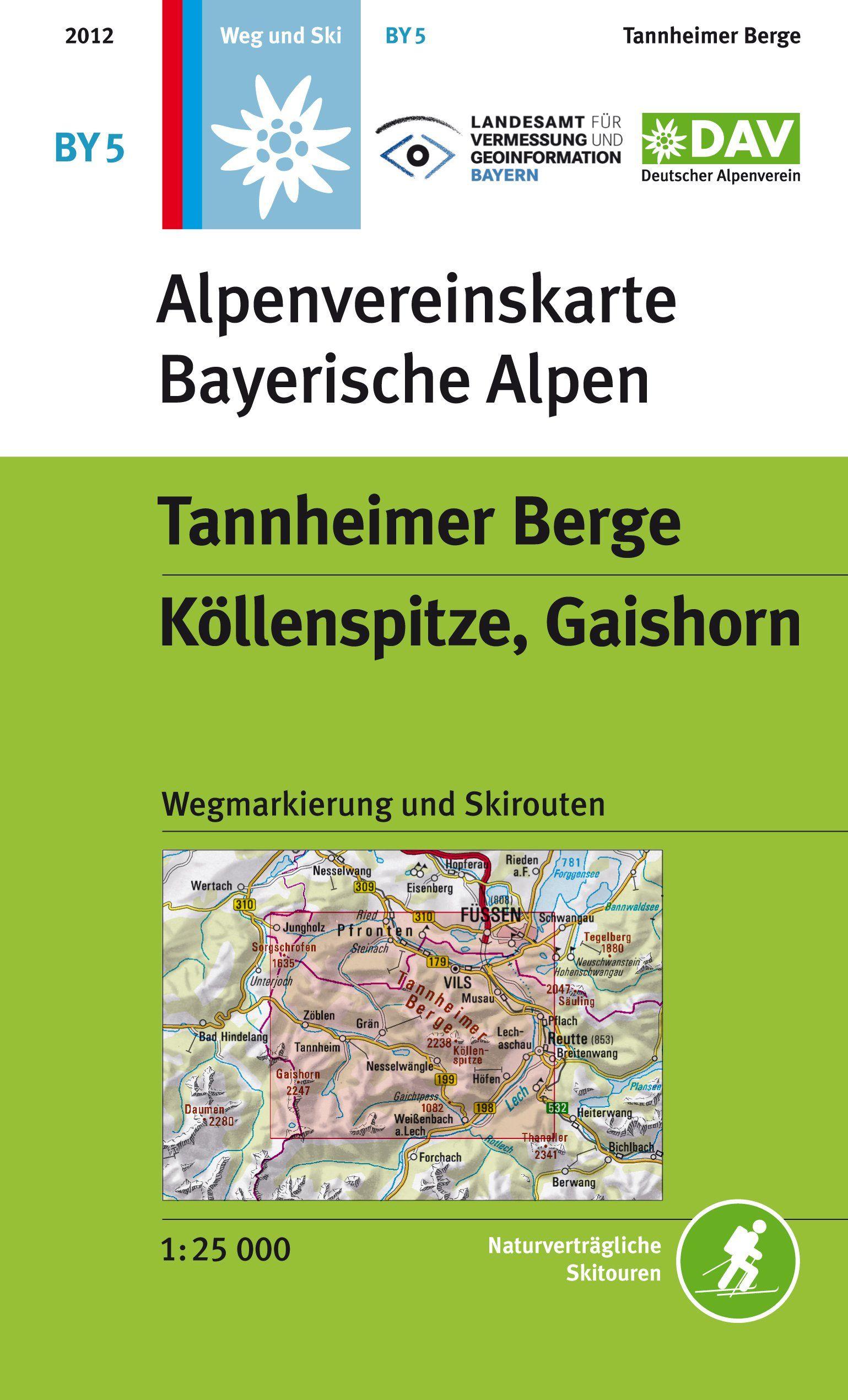 Tannheimer Berge Kollenspitze Gaishorn Topographische Karte Mit
