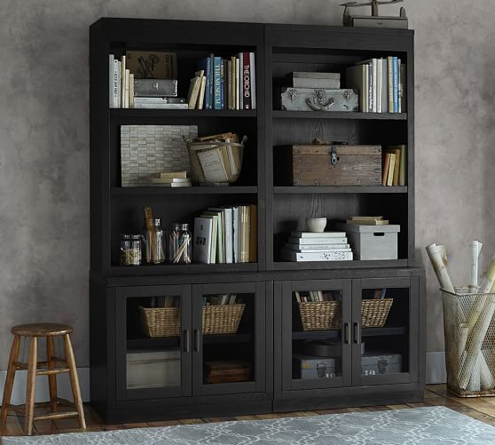 Reynolds Open Bookcase With Glass Door Cabinets | Pottery Barn