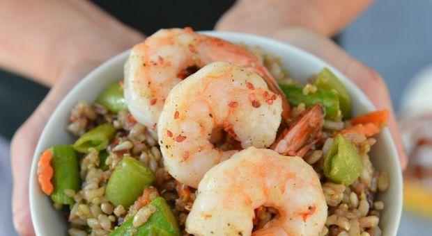 Athlete Food: Roasted Shrimp Rice Bowl #athletefood